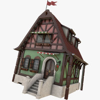 3D timber medieval house -