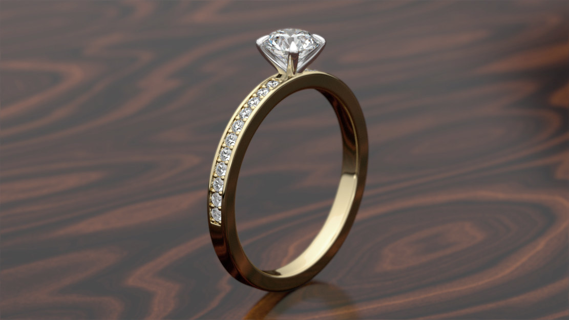 3D model print engagement pave ring