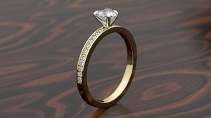 print heart pave ring model