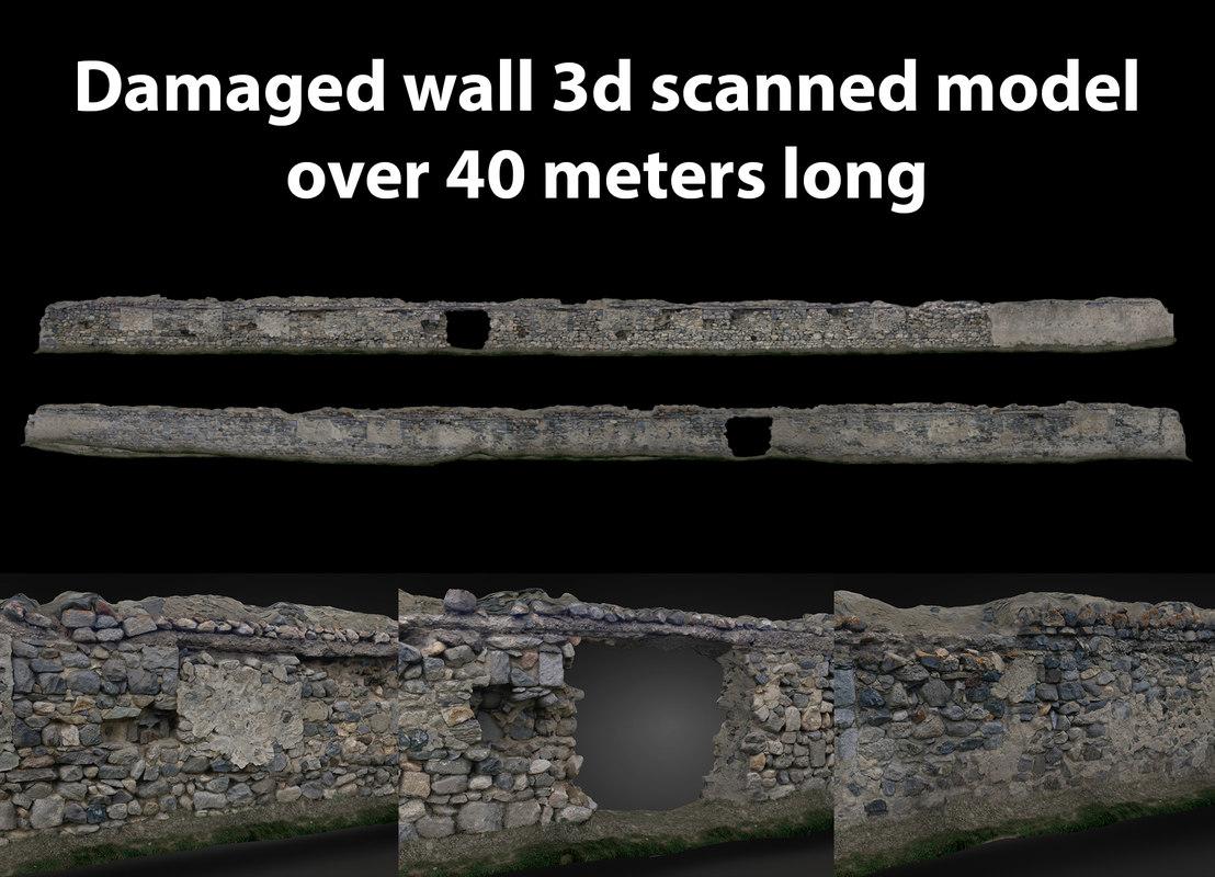 damaged wall scanned 3D model