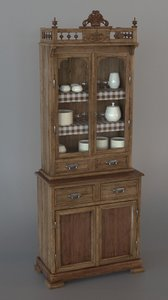 3D old rustic cupboard