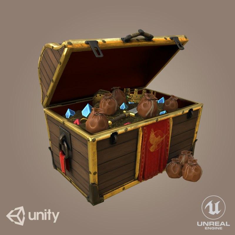 3D pirate treasure chest