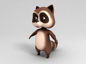 3D model raccoon cartoon
