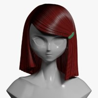 hair style anime mannequin 3D model