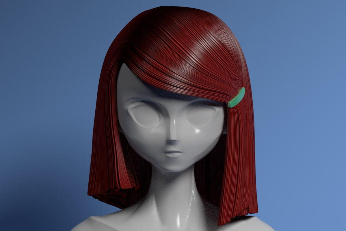 hair style anime mannequin 3D model