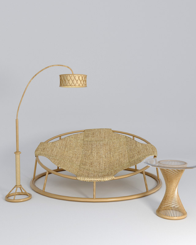 furniture rattan chair table 3D model