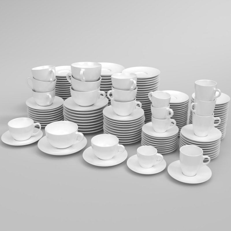 3D blender set verona coffee cup model