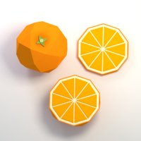 Low poly cartoon orange fruit