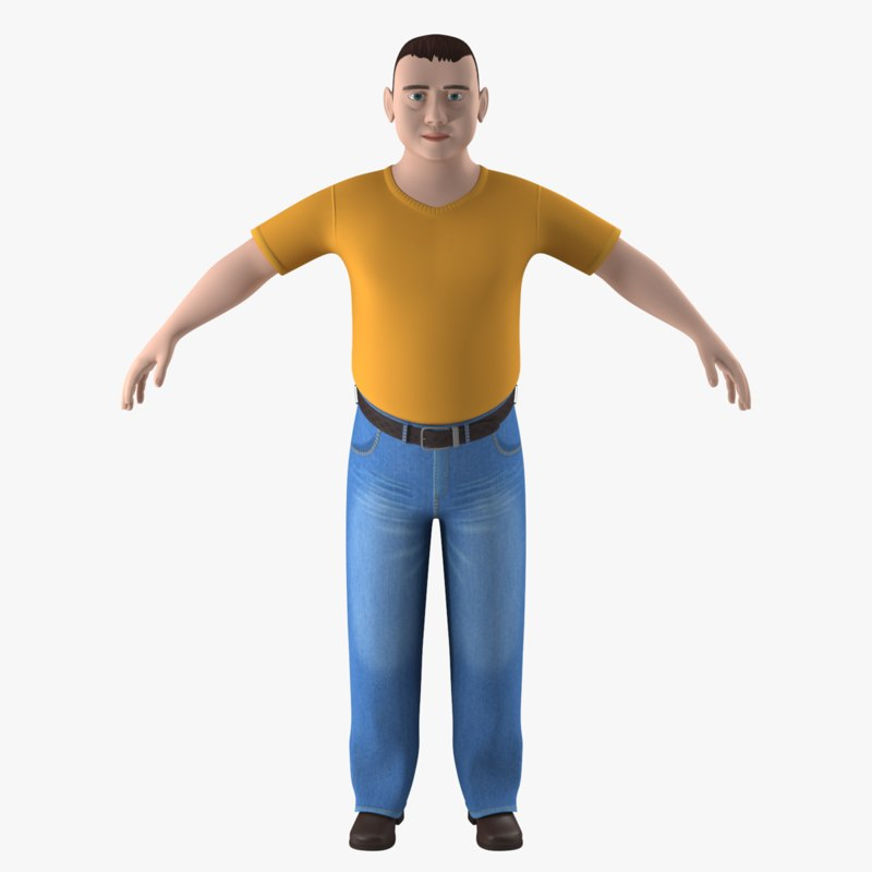 rigged cartoon man character 3D model
