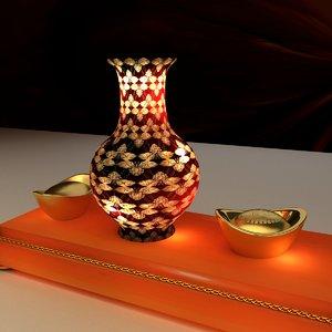 chinese gold ingot vase 3D