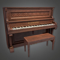 Saloon Piano (Dive Bar) - PBR Game Ready