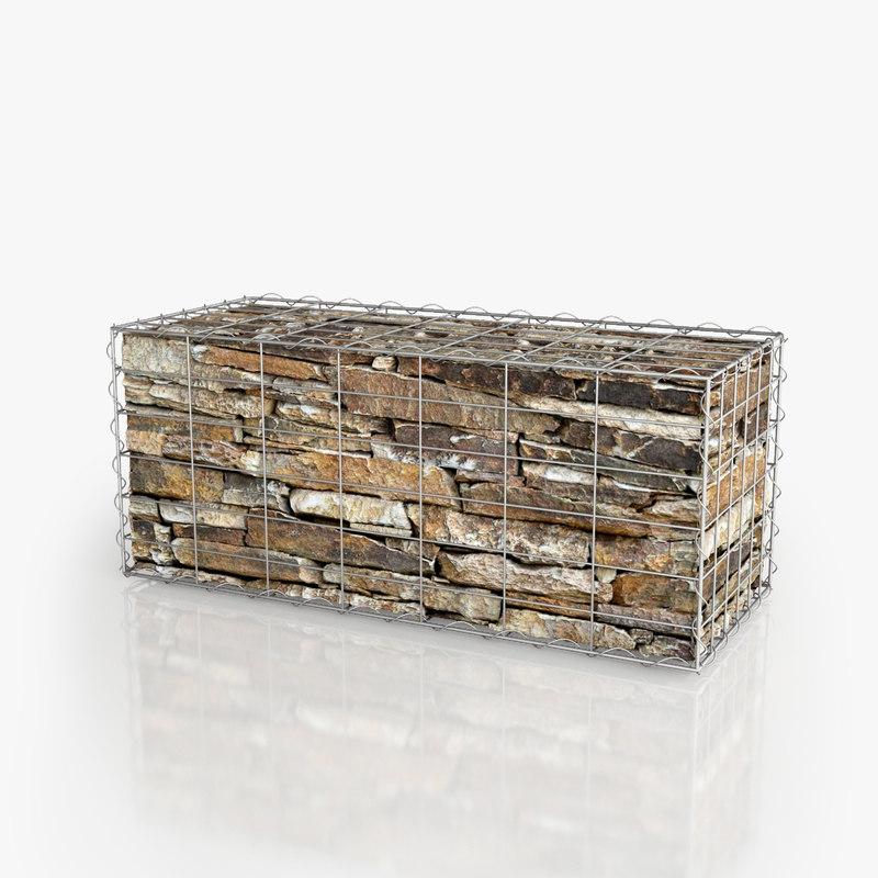 gabion wall 3D model