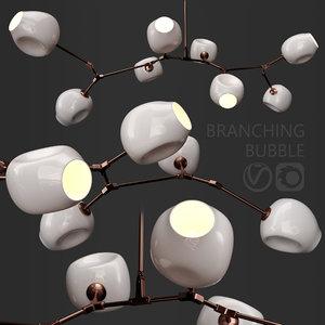 3D branching bubble 8 lamps model