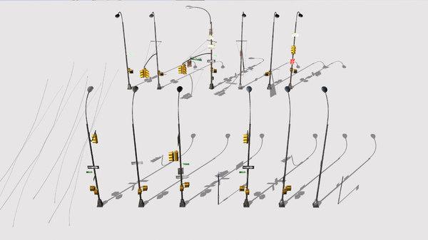 traffic lights pack 3D model