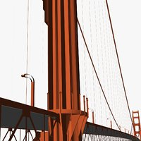 The Golden Gate Bridge with vehicles