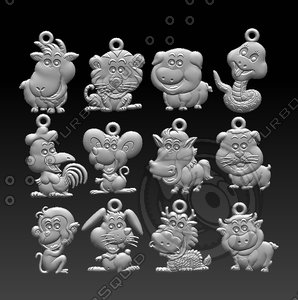 chinese zodiac signs 3D model