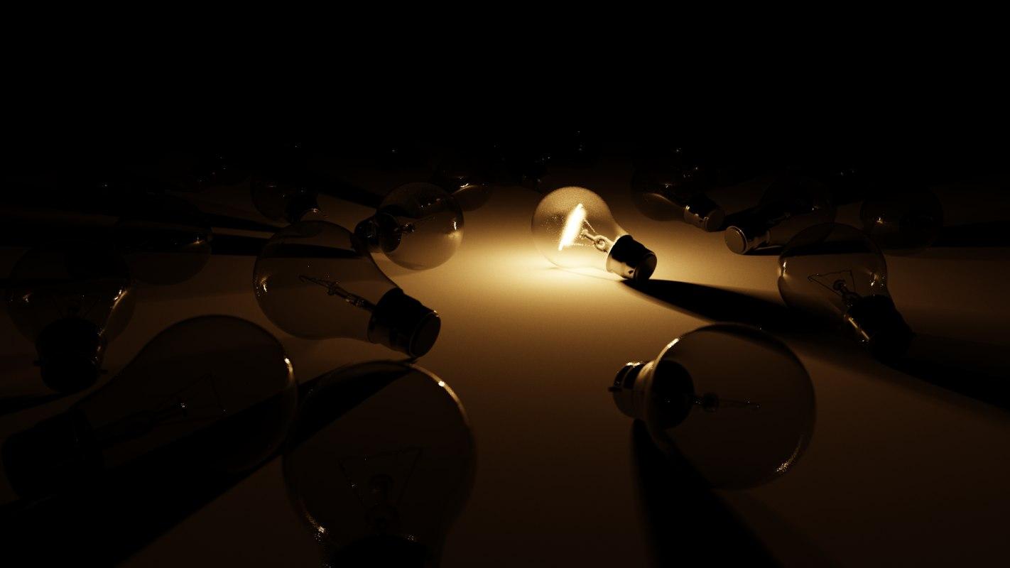 3D model lightbulb lighting
