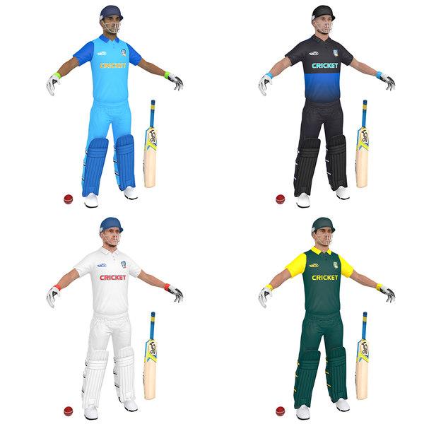 pack cricket man bat 3D model
