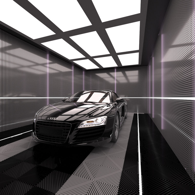 3D model car garage scene lights