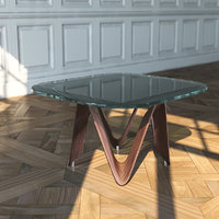glass table wooden 3D model