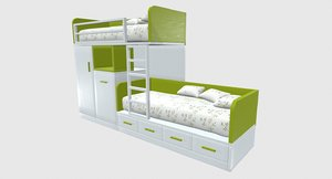 3D green story bed model