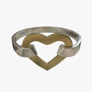 heart ring gold 3D model