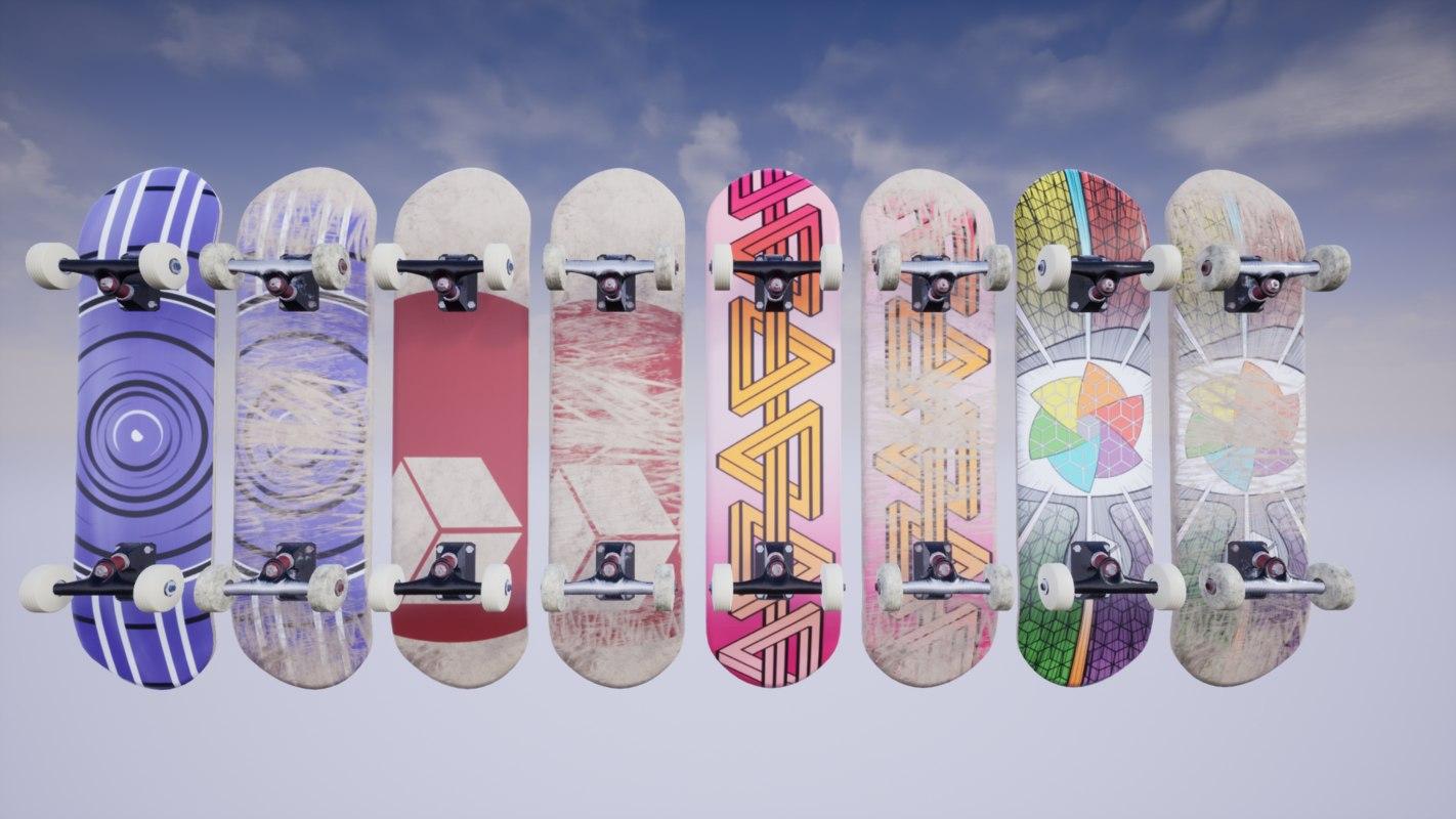 3D 8 4k pbr skateboard
