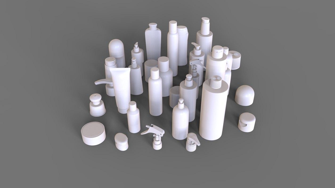 cosmetics bottles 3D