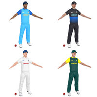 3D pack cricket player man