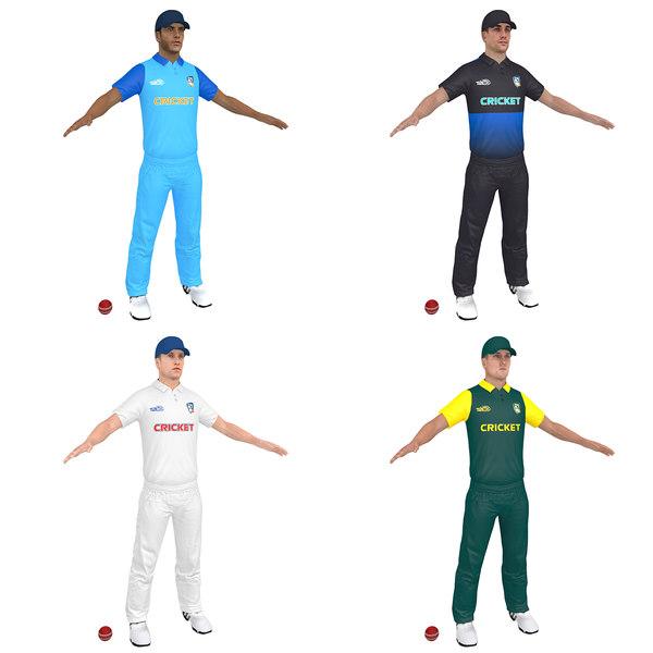 3D pack cricket player man