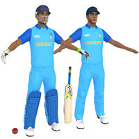 3D cricket players man 1 model