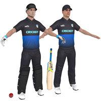 3D 2 cricket players man