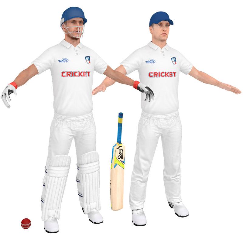 cricket players man 3 3D
