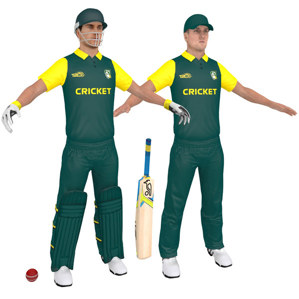 3D cricket players man