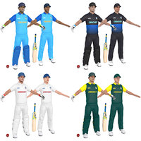 pack cricket players man 3D