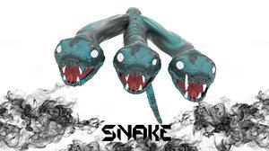 3D snake 3 headed