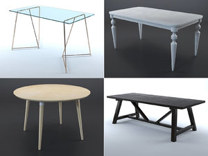 3D tables wood glass