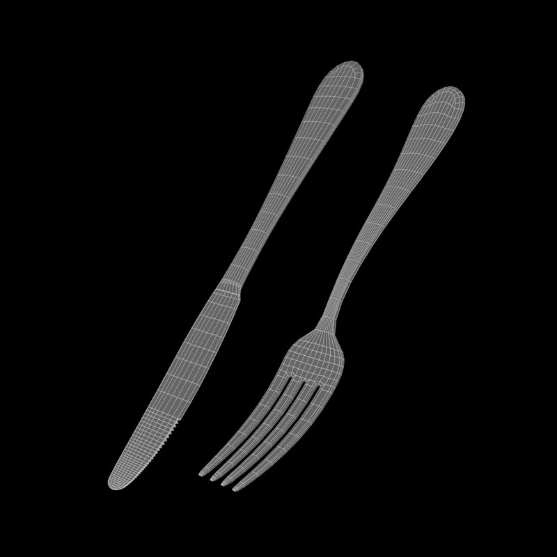 Common Cutlery Dessert Knife Fork 3d Model Turbosquid 1286392