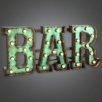 Large Light Up Letters 01 (Dive Bar) - PBR Game Ready