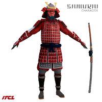 3D samurai katana