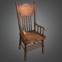 Old Wooden Chair 01 (Dive Bar) - PBR Game Ready