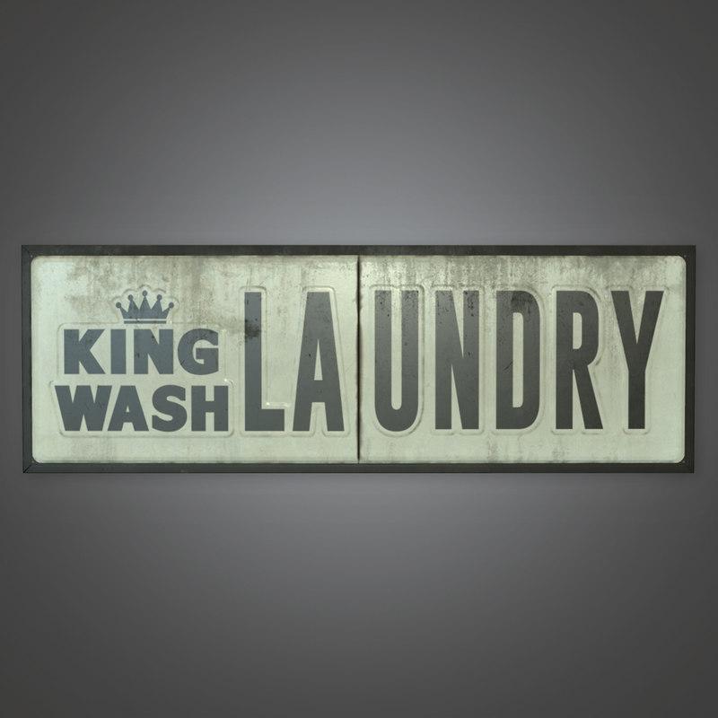 3D sign laundromat model