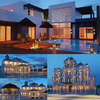 3D real villas night shot