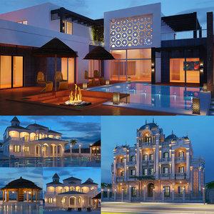 3D real villas night shot