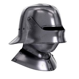 medieval knight sallet helmet visor 3D