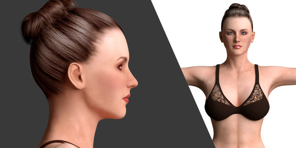 beautiful women rigged female 3D model