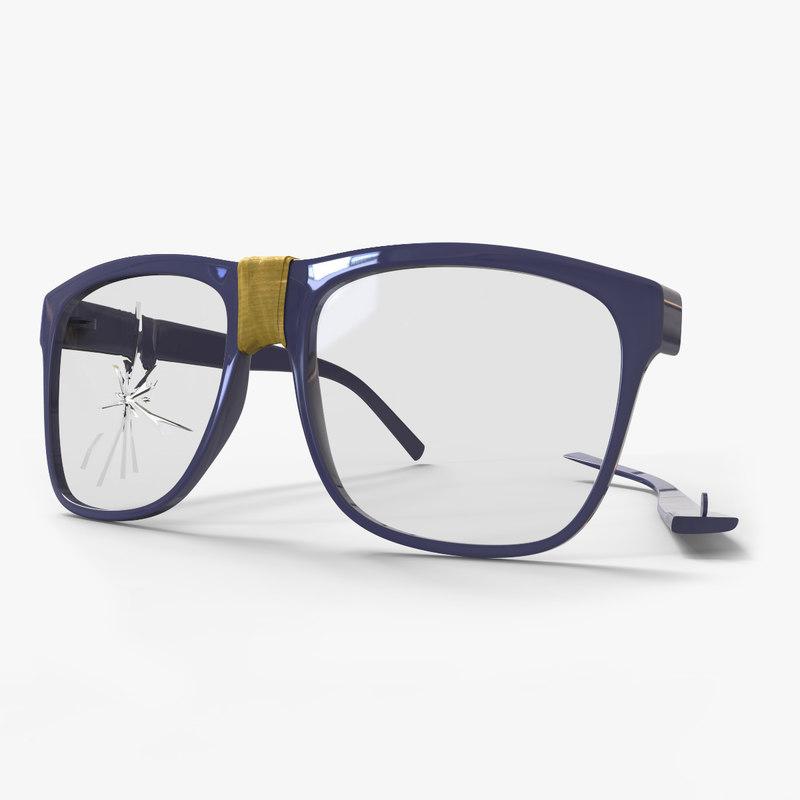 damage glasses 3D model