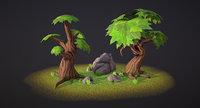Set of stylized trees & rocks