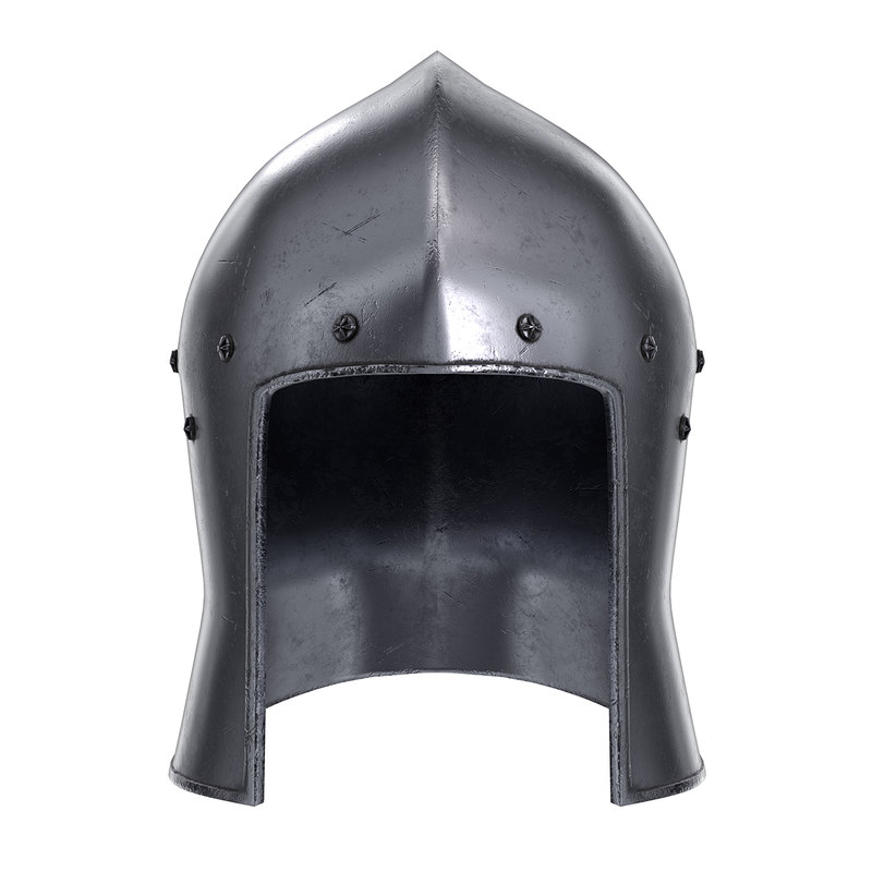 medieval knight barbute iron 3D model