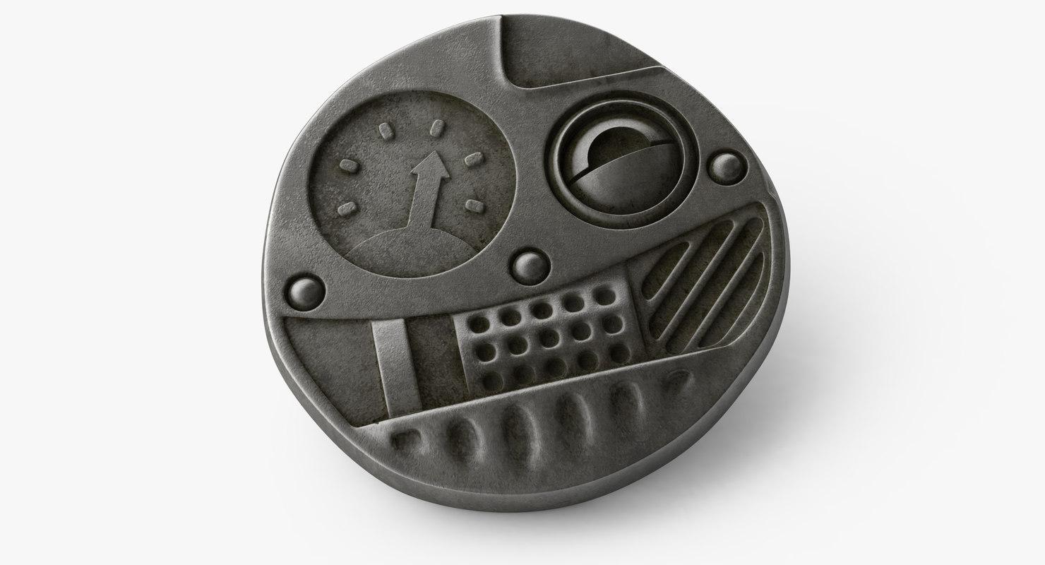 steampunk button model